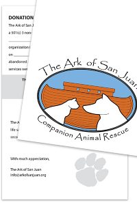 Animal Rescue Note Card and Donation Form