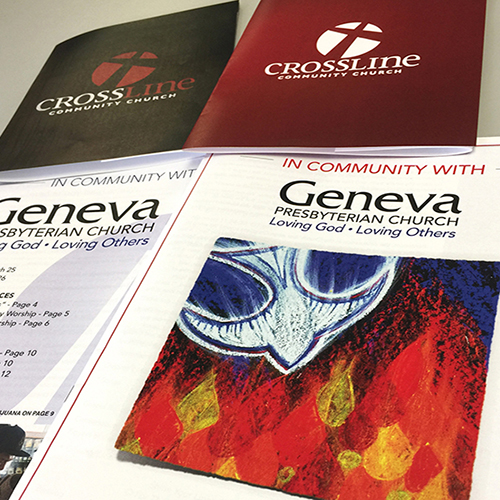 Church Bulletins and Information Folders With Custom Graphics