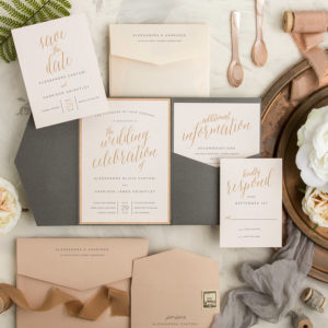 cream and gray wood tulle wedding invitations