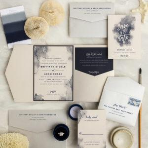 Navy Cream Watercolor Beach Wedding Invitations