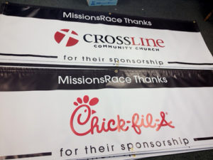 Mission race sponsorship vinyl banner