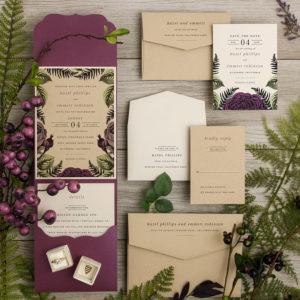Olive Purple Wood Forest Rustic Wedding Invitations