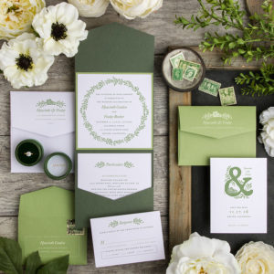 green lime olive wreath wedding invitation