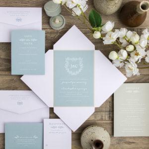Dreamy Blue White Eggshell Wedding Invitation Orange County