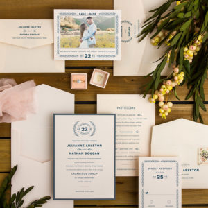Blue Pink Vineyard Romance Wedding Invitations