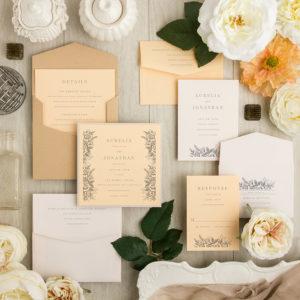 Peach White Woodcut Rose Wedding Invitations