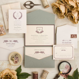 Wine Sage Wreath and Shield Wedding Invitations