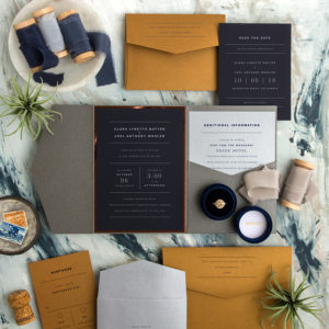 Navy and Gold Elegant Wedding Invitations