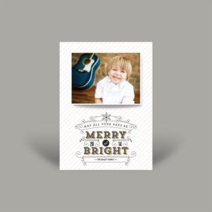 White Stripe Portrait Holiday Card