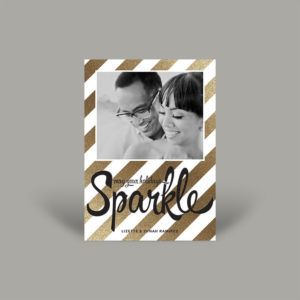 Gold Glitter with Black and White Portrait Holiday Card