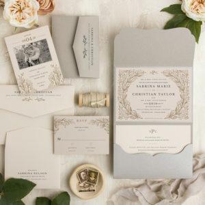 Gray Neutral Garden Wedding Invitations
