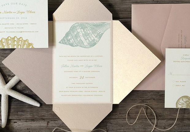 Pink Blue Seashell Wedding Invitations