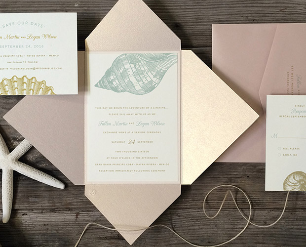 Pink Blue Seashell Wedding Invitations