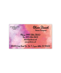 pink and orange watercolor business card design