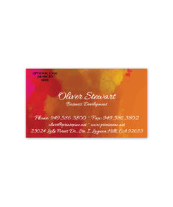 Red and gold watercolor business card