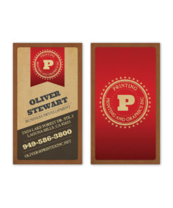 Camel brown and red ribbon circle star business card design