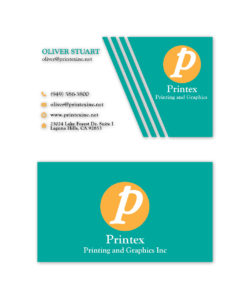 Teal and yellow business card design