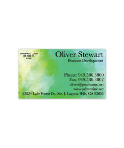 Green watercolor business card design