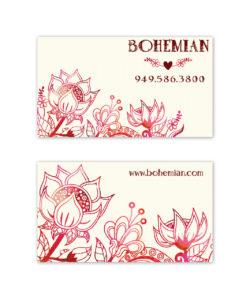 Bohemian vintage red pink brown business card design