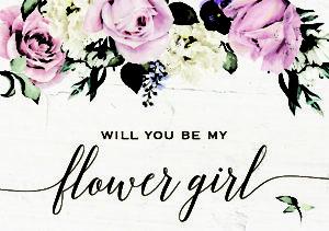 Floral Pastel Flower Girl Elegant Wedding Greeting Card
