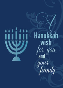 Family Hanukkah holiday greeting card