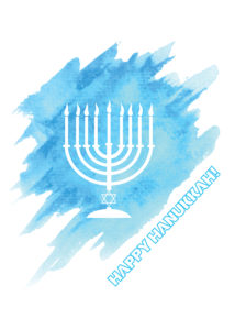 Watercolor Happy Hanukkah holiday greeting card