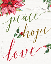 peace hope love holiday card