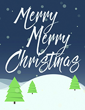 merry merry christmas snow holiday card