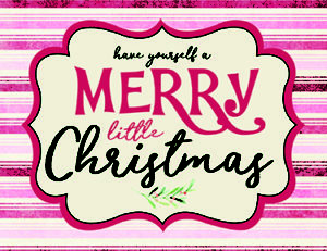 pink green merry little christmas card