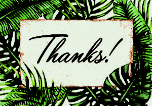 Palm leaves thank you greeting cards