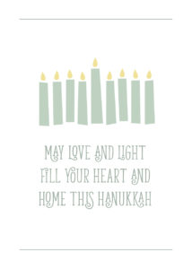 Candles and Hanukkah holiday greeting card