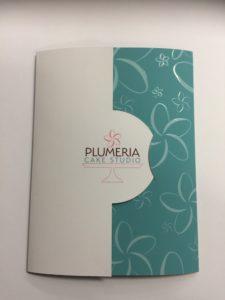 plumeria cake studio special die cut presentation folders with raised spot uv
