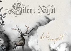 Silent Night Gray Watercolor Deer Greeting Card