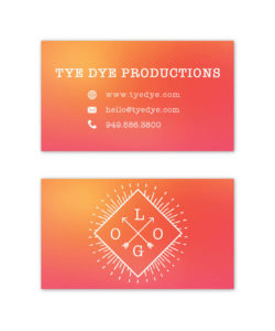 tye dye gradient yellow and pink business card design