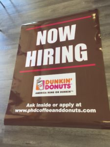 laminated poster now hiring dunkin donuts