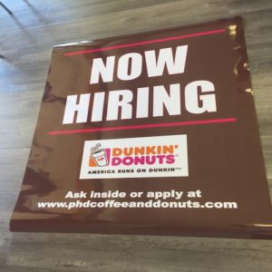 coffee shop promotional now hiring sign