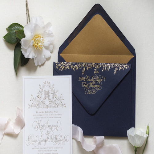 navy and gold foil wedding invitations