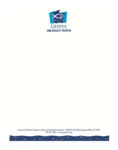 Custom white geneva church letterhead