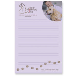 Purple veterinarian notepad