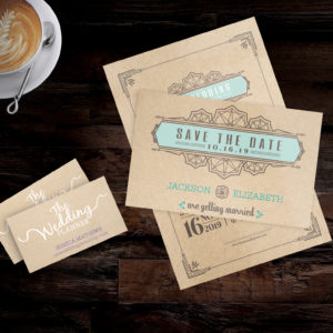 Turquoise and Gray Kraft Business Card and Save the Date