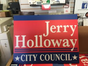 Professionally printed political lawn sign
