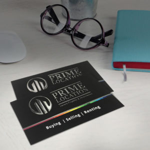 Raised Foil Silver Business Cards