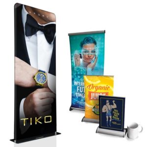 Fabric And Vinyl Table Top And Large Retractable Banners OC