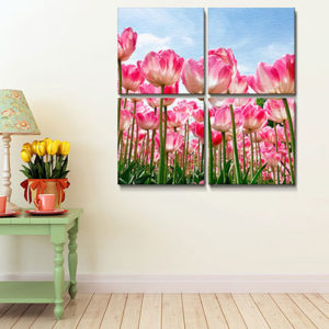 four individual large mounted canvas