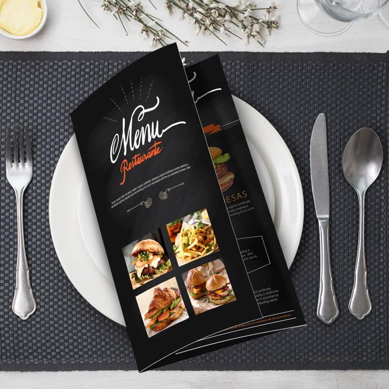 Tri Fold Full Color Restaurant Menu Orange County