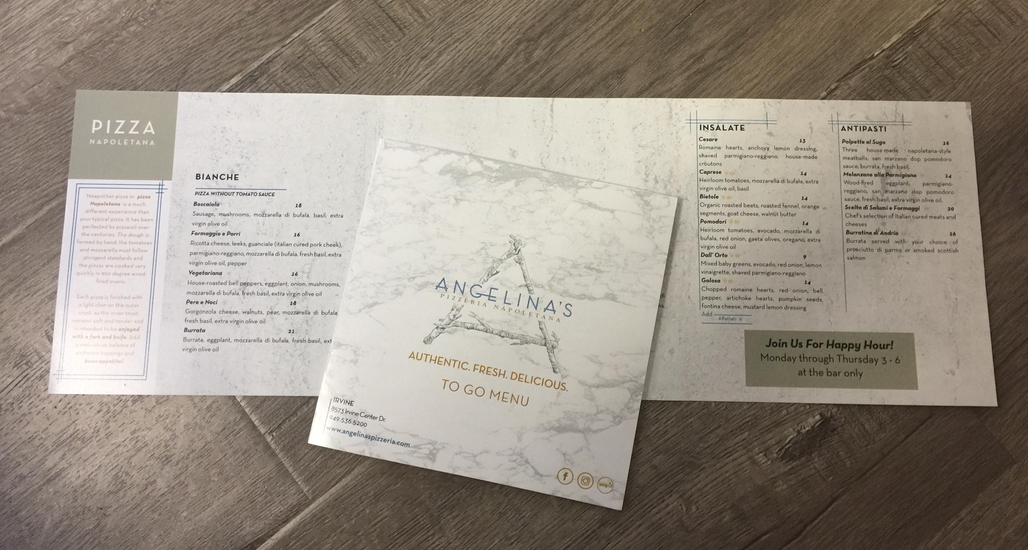 Take out menus Angelinas Restaurant Irvine California