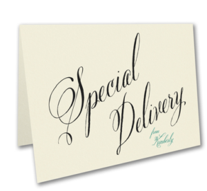 Calligraphy Special Delivery birth announcement notecards