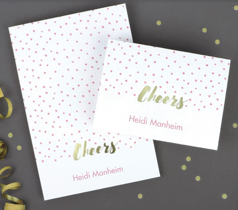 Foil Stamped and Pink Polka Dot Notecard