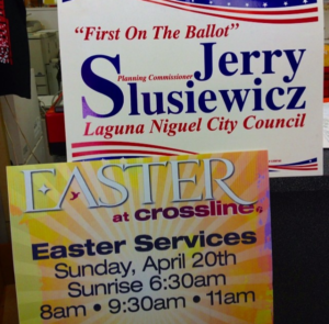Lawn signs for political campaigns and events