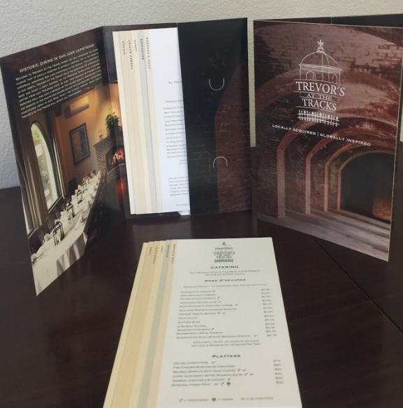 Presentation folder for catering menus